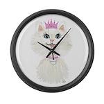 White Cartoon Cat Princess Large Wall Clock