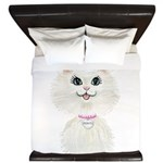 White Cartoon Cat Princess King Duvet