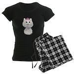 White Cartoon Cat Princess Women's Dark Pajamas