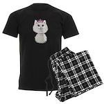 White Cartoon Cat Princess Men's Dark Pajamas