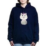 White Cartoon Cat Prince Women's Hooded Sweatshirt