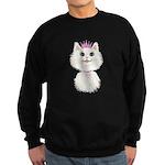 White Cartoon Cat Princess Sweatshirt (dark)