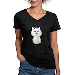 White Cartoon Cat Prin Women's V-Neck Dark T-Shirt