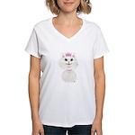 White Cartoon Cat Princess Women's V-Neck T-Shirt