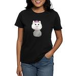 White Cartoon Cat Princess Women's Dark T-Shirt