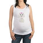 White Cartoon Cat Princess Maternity Tank Top