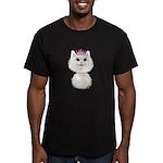 White Cartoon Cat Prin Men's Fitted T-Shirt (dark)