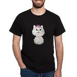 White Cartoon Cat Princess Dark T-Shirt