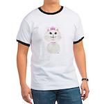 White Cartoon Cat Princess Ringer T