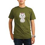 White Cartoon Cat Pri Organic Men's T-Shirt (dark)