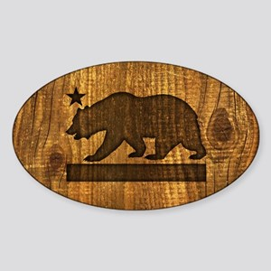 California Bear Wood Design Sticker
