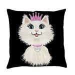 Cartoon Cat Princess (on blk) Everyday Pillow