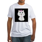 Cartoon Cat Princess (on blk) Fitted T-Shirt
