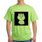 Cartoon Cat Princess (on blk) Green T-Shirt