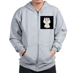 Cartoon Cat Princess (on blk) Zip Hoodie