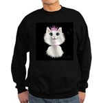Cartoon Cat Princess (on blk) Sweatshirt (dark)
