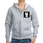 Cartoon Cat Princess (on blk) Women's Zip Hoodie