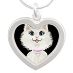 Cartoon Cat Princess (on blk Silver Heart Necklace