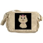 Cartoon Cat Princess (on blk) Messenger Bag