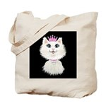 Cartoon Cat Princess (on blk) Tote Bag