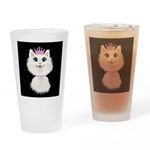 Cartoon Cat Princess (on blk) Drinking Glass