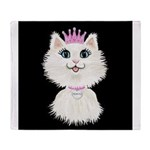 Cartoon Cat Princess (on blk) Throw Blanket