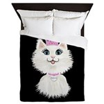 Cartoon Cat Princess (on Blk) Queen Duvet