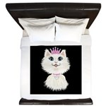 Cartoon Cat Princess (on Blk) King Duvet