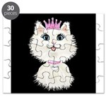 Cartoon Cat Princess (on blk) Puzzle