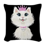 Cartoon Cat Princess (on Blk) Woven Throw Pillow