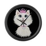 Cartoon Cat Princess (on blk) Large Wall Clock