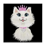 Cartoon Cat Princess (on Blk) Tile Coaster