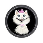Cartoon Cat Princess (on blk) Wall Clock