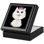 Cartoon Cat Princess (on Blk) Keepsake Box