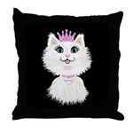 Cartoon Cat Princess (on blk) Throw Pillow