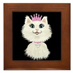 Cartoon Cat Princess (on Blk) Framed Tile