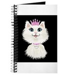 Cartoon Cat Princess (on blk) Journal