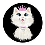 Cartoon Cat Princess (on blk) Round Car Magnet