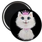 Cartoon Cat Princess (on Blk) Magnet Magnets