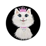 "Cartoon Cat Princess (on Bl 3.5"" Button (100"