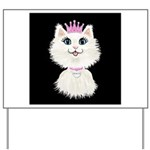 Cartoon Cat Princess (on blk) Yard Sign