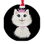 Cartoon Cat Princess (on Blk) Round Ornament