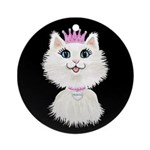 Cartoon Cat Princess (on Blk) Ornament (round)