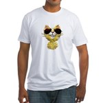 Yellow Tiger Cat Cartoon (sg) Fitted T-Shirt