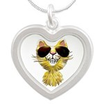 Yellow Tiger Cat Cartoon (sg Silver Heart Necklace