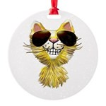Yellow Tiger Cat Cartoon (sg) Round Ornament