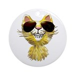 Yellow Tiger Cat Cartoon (sg) Ornament (Round)
