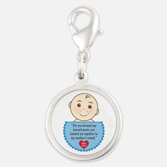 Pro-Life Psalm 139:13 Silver Round Charm