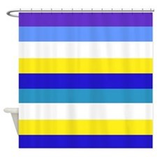 Blue, yellow and white stripes Shower Curtain