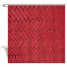 Red brick chevron pattern Shower Curtain